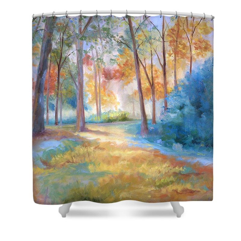 Wooded Paths Shower Curtain featuring the painting Homeward by Ginger Concepcion