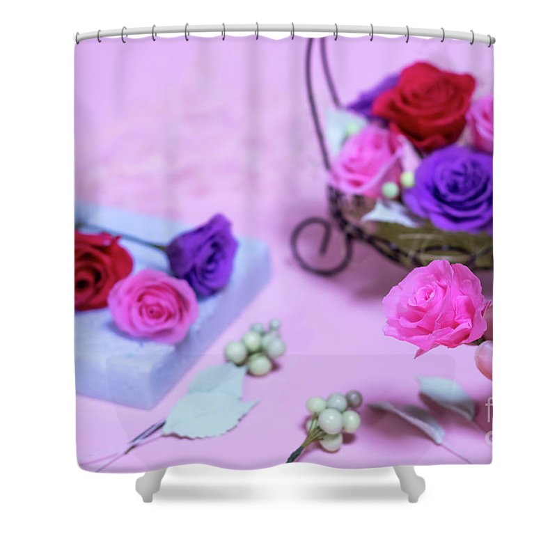 Anniversary Shower Curtain featuring the photograph How To Make Preservrd Flower And Clay Flower Arrangement, Colorf by Eiko Tsuchiya