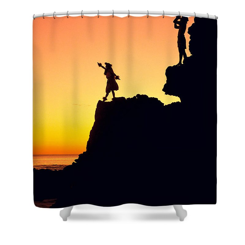 Aloha Shower Curtain featuring the photograph Hula Silhouette by William Waterfall - Printscapes