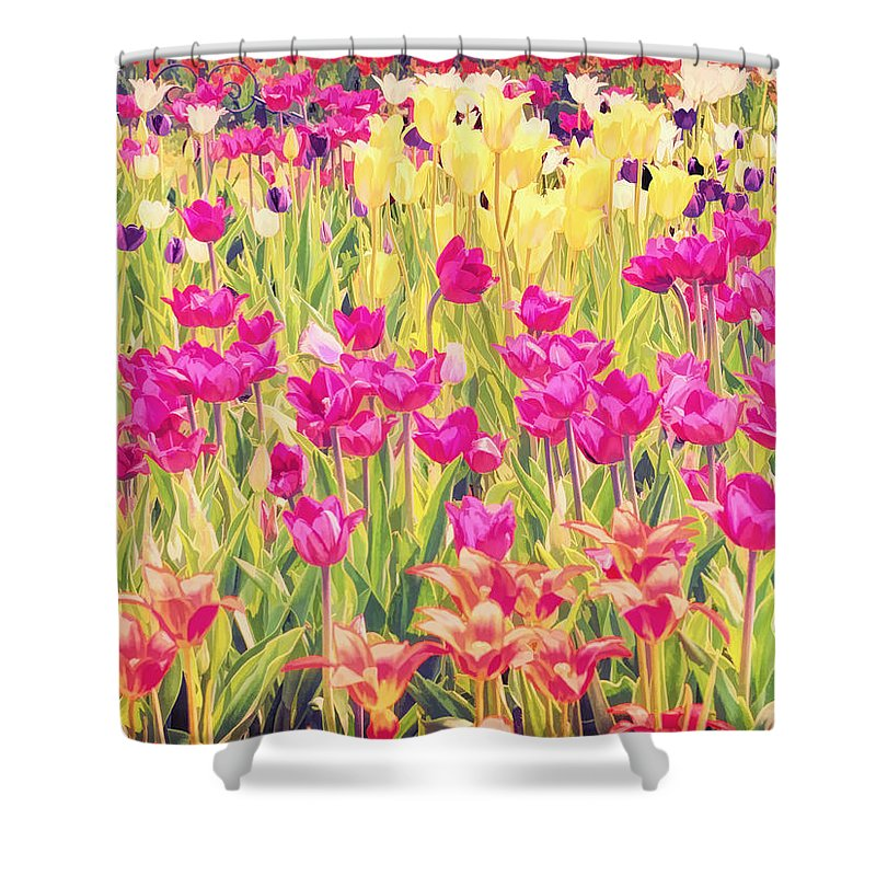 Flower Shower Curtain featuring the photograph Impressionist Floral Xvi by Tina Baxter