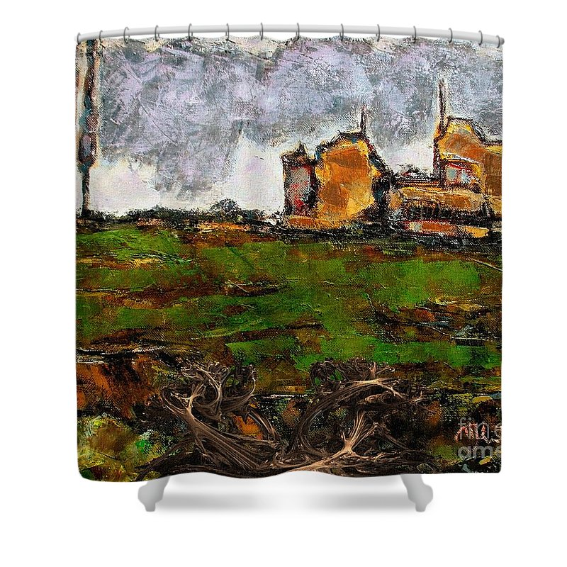 Modern Painting Shower Curtain featuring the mixed media In The Field 29 by Pemaro