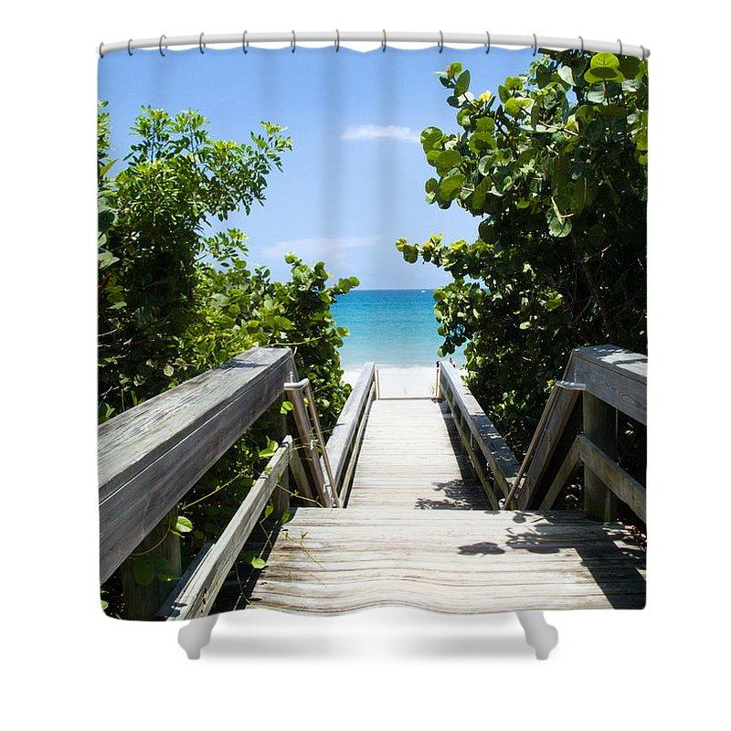 Juno; Florida; Loxahatchee; River; Jupiter; Inlet; Swim; Swimming; Children; Girl; Boy; Woman; Man; Shower Curtain featuring the photograph Juno Beach Florida by Allan Hughes
