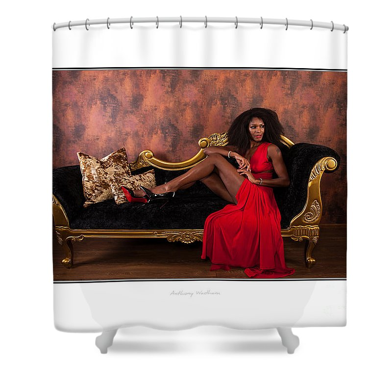 Natasha Shower Curtain featuring the photograph Lady In Red by Anthony Wadham