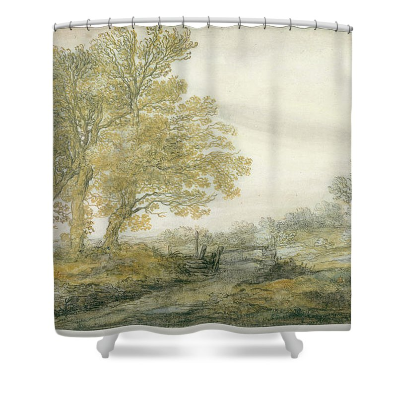 Landscape With Trees Shower Curtain featuring the painting Landscape With Trees by Aelbert Cuyp