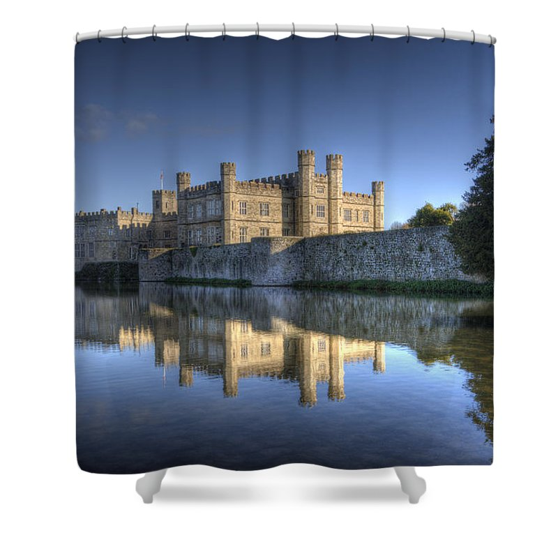 Leeds Castle Shower Curtain featuring the photograph Leeds Castle Reflections by Chris Thaxter
