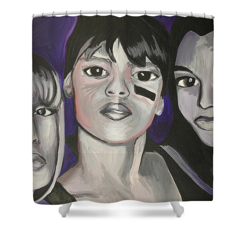Lisa Lopez Shower Curtain featuring the painting Left Eye by Kate Fortin