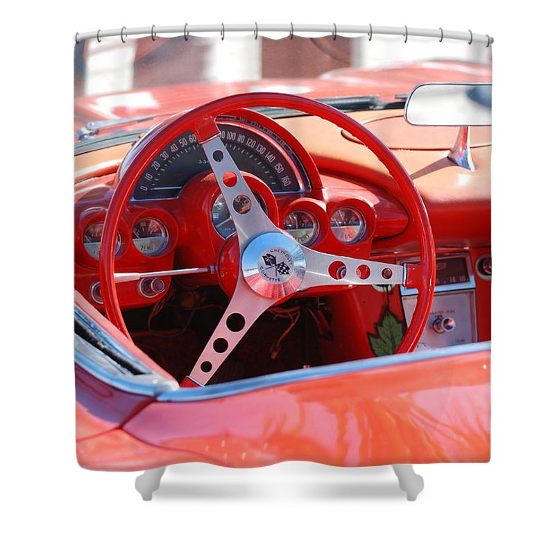 Corvette Shower Curtain featuring the photograph Little Red Corvette by Rob Hans