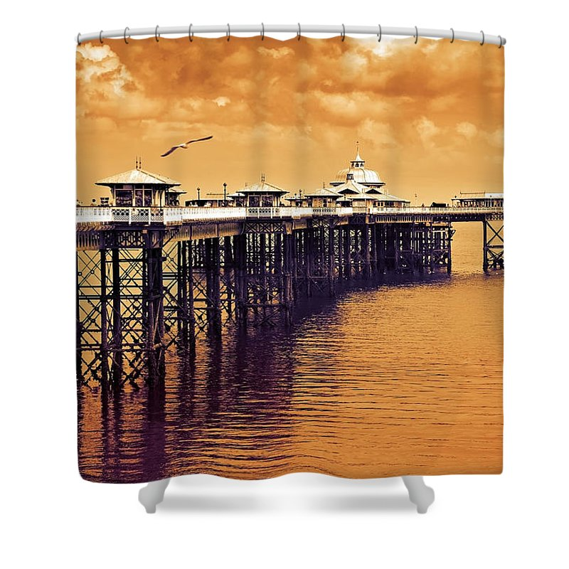 Llandudno Shower Curtain featuring the photograph Llandudno Pier North Wales Uk by Mal Bray