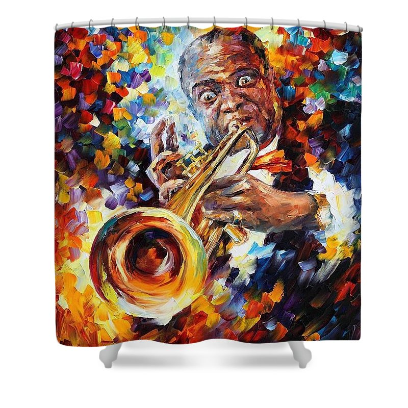 Afremov Shower Curtain featuring the painting Louis Armstrong . by Leonid Afremov