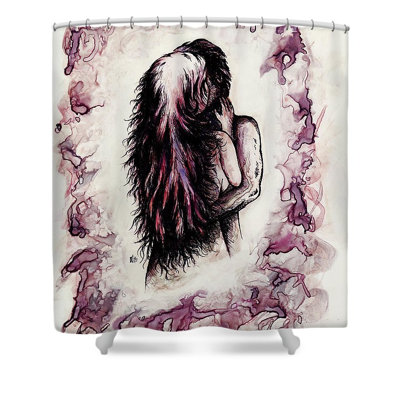 Figure Shower Curtain featuring the drawing Lovers by Rachel Christine Nowicki