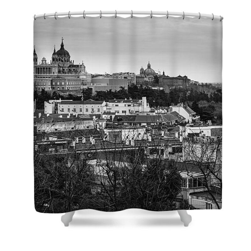 Spain Shower Curtain featuring the photograph Madrid Panorama From Debod Lookout Madrid Spain by Pablo Avanzini