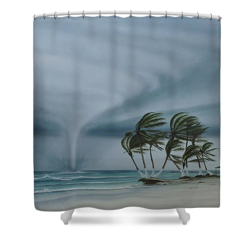 Shower Curtain featuring the painting Mahahual by Angel Ortiz
