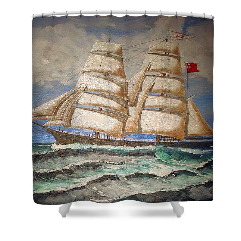 Tall Ship Shower Curtain featuring the painting 2 Master Tall Ship by Richard Le Page