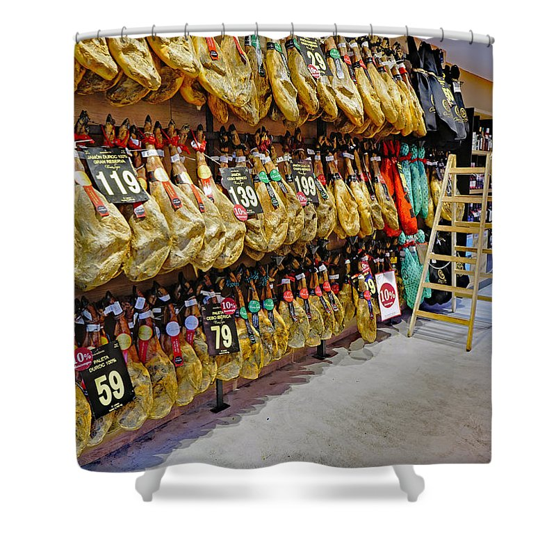 Meat Market Shower Curtain featuring the photograph Meat Market In Palma Majorca Spain by Richard Rosenshein
