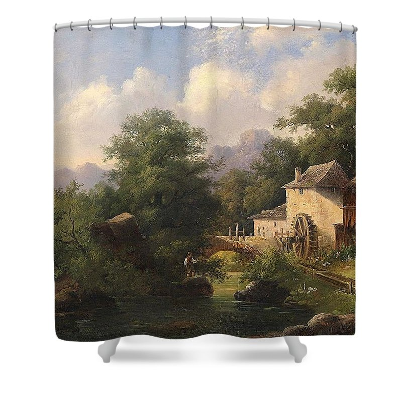 Anton Bayer (1805-1884) Mill With Angler Shower Curtain featuring the painting Mill With Angler by Anton Bayer