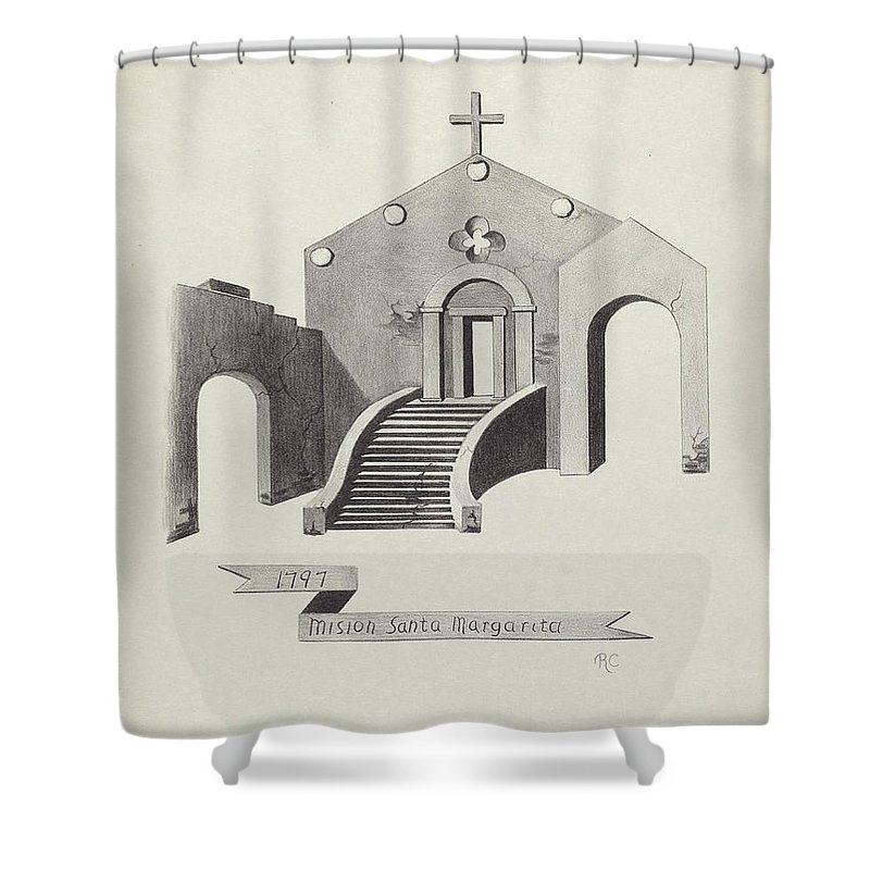Shower Curtain featuring the drawing Mision Santa Margarita by James Jones