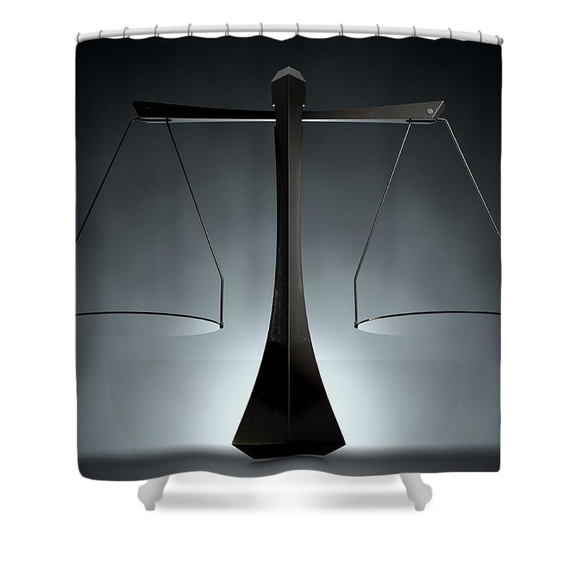 Balanced Shower Curtain featuring the digital art Modern Scales Of Justice by Allan Swart