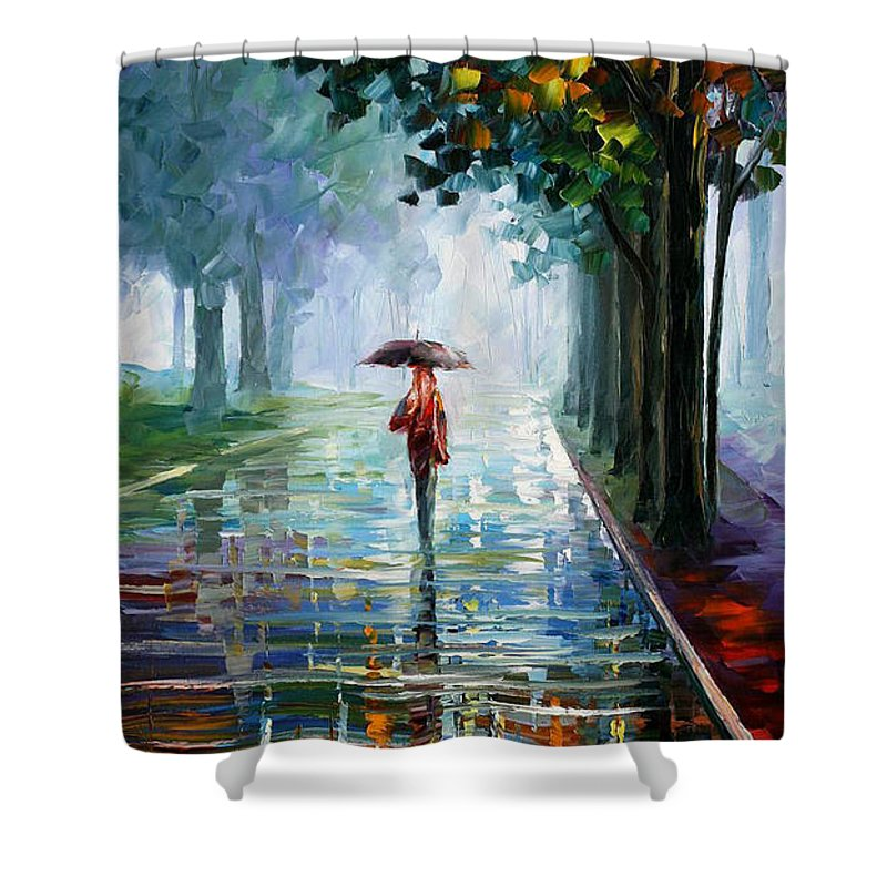 Landscape Shower Curtain featuring the painting Morning Fog by Leonid Afremov