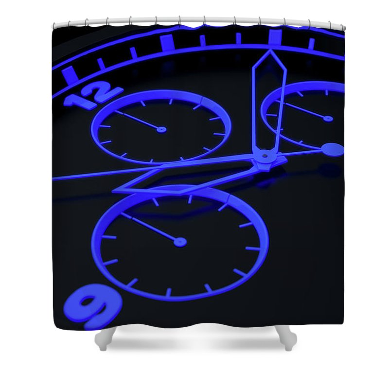 Animated Shower Curtain featuring the digital art Neon Watch Face by Allan Swart