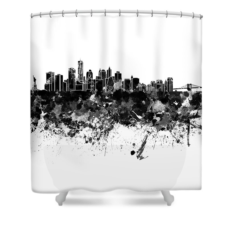 New York Skyline Shower Curtain Featuring The Painting In Watercolor On White Background
