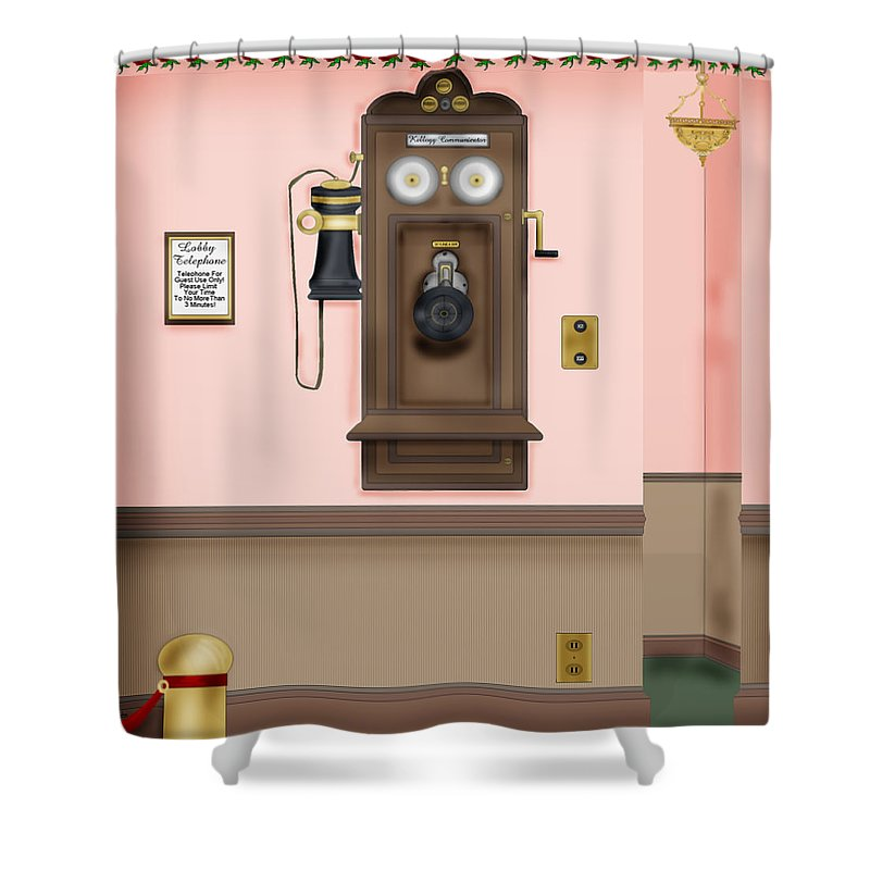 Hand-drawn Digital Painting Shower Curtain featuring the painting Number Please by Anne Norskog