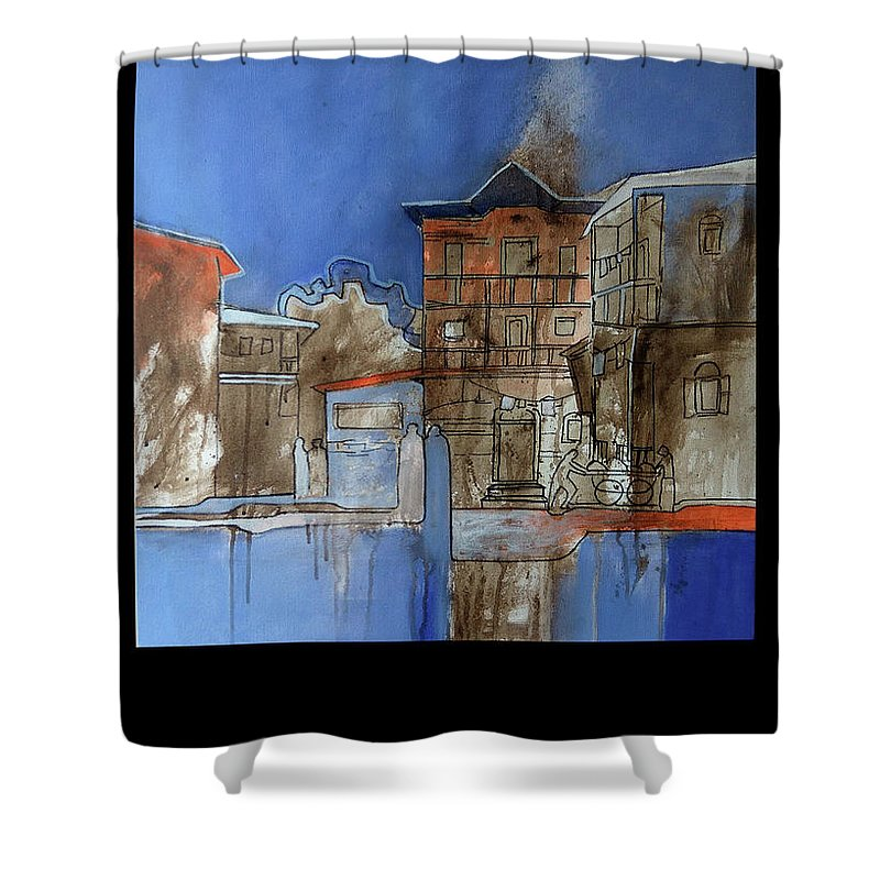 Shower Curtain featuring the painting Old Memories by Sameer Dixit