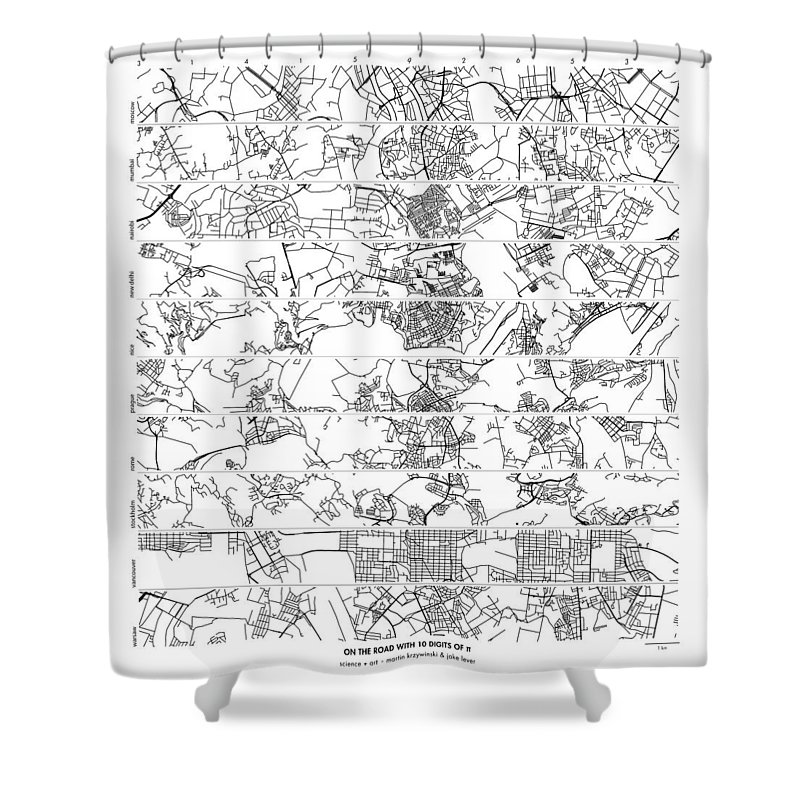 Pi Shower Curtain featuring the digital art On The Road With 10 Digits Of Pi by Martin Krzywinski