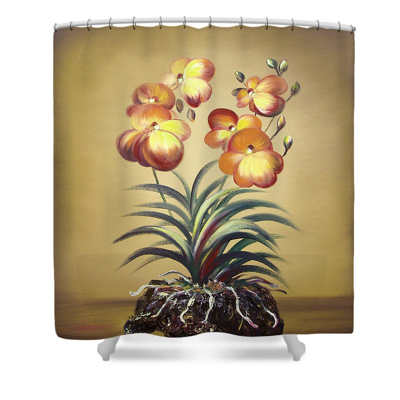 Orange Shower Curtain featuring the painting Orange Orchid Flowers by Gina De Gorna