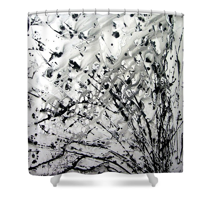 Abstraction Shower Curtain featuring the digital art Painting Noir by Ethel Mann