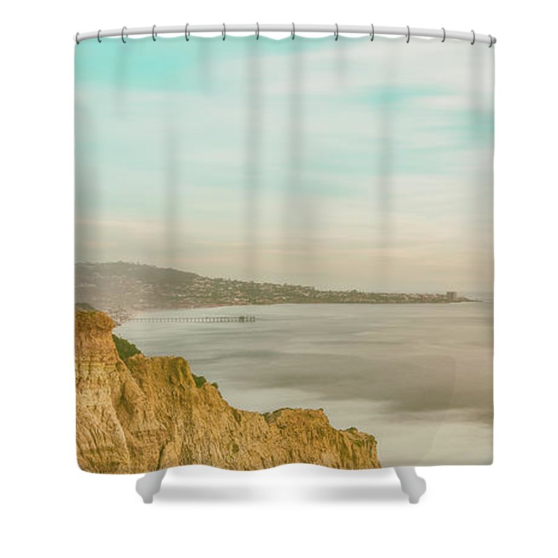 Beach Shower Curtain featuring the photograph Panoramic Sunset Overtorrey Pines, San Diego Beach, California by Ryan Kelehar
