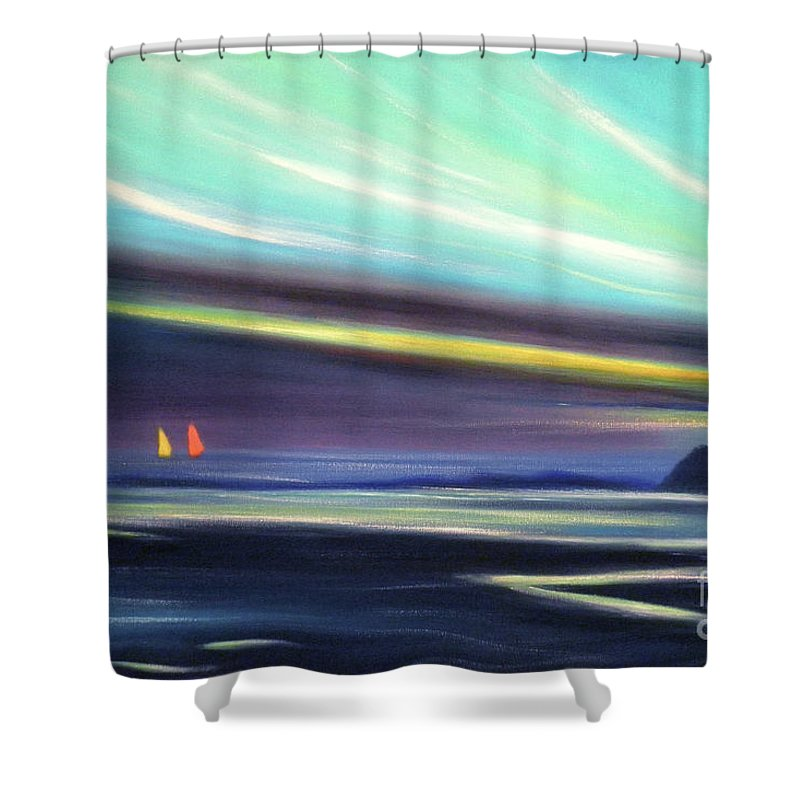 Brown Shower Curtain featuring the painting Peace Is Colorful 2 by Gina De Gorna