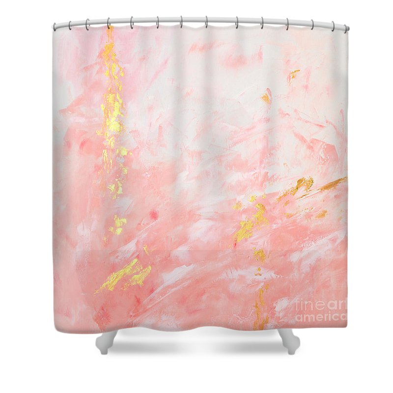 Pink Shower Curtain Featuring The Painting Gold Abstract By Voros Edit