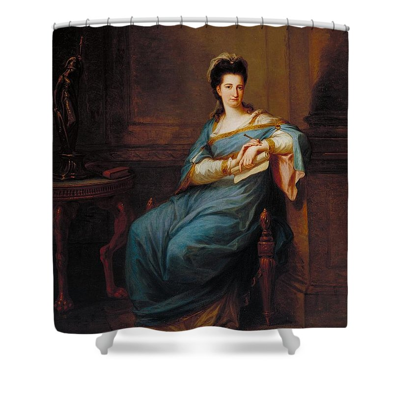Angelica Kauffman Shower Curtain featuring the painting Portrait Of A Lady by Angelica Kauffman