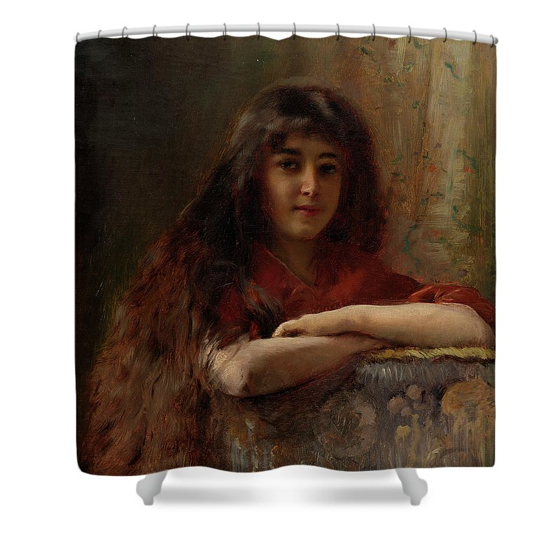 Makovsky Shower Curtain featuring the painting Portrait Of A Young Girl by MotionAge Designs