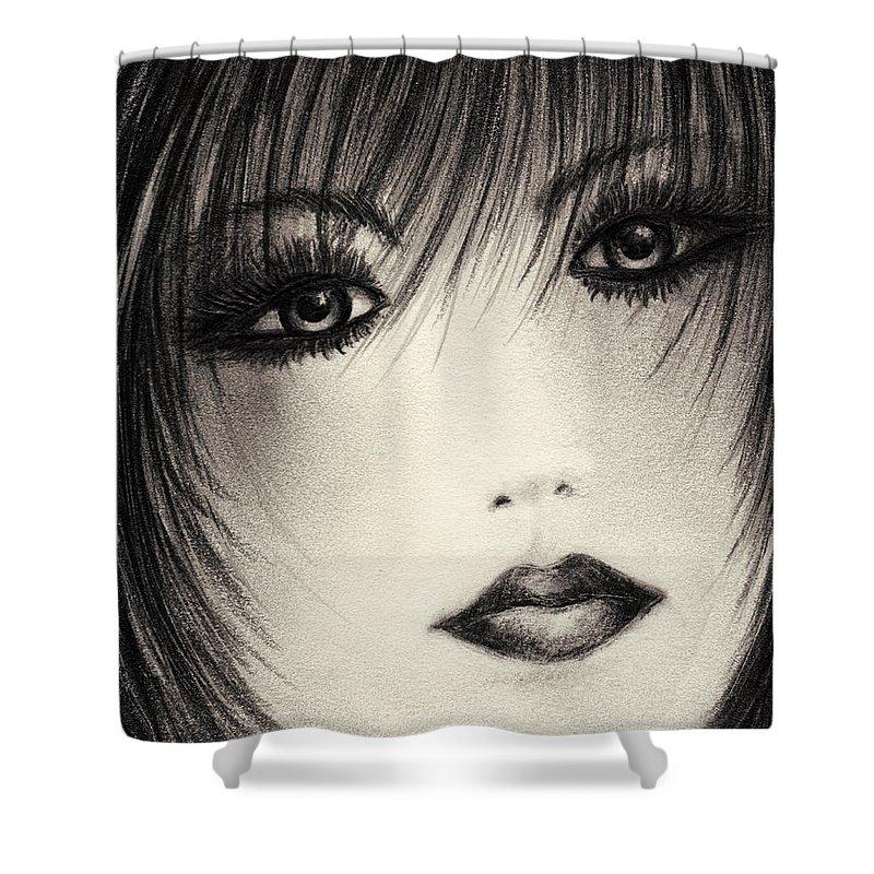 Portrait Shower Curtain featuring the drawing Portrait Study by Rachel Christine Nowicki