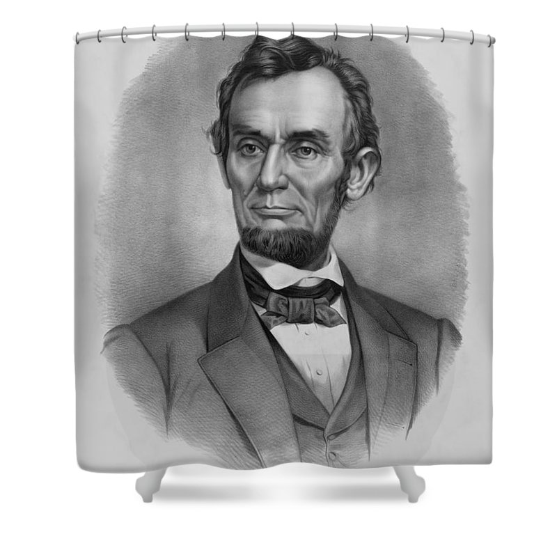 Abraham Lincoln Shower Curtain featuring the drawing President Lincoln by War Is Hell Store