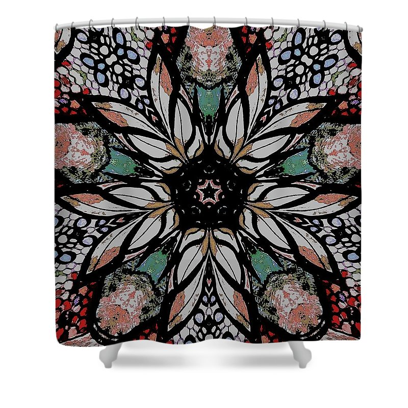 Shower Curtain featuring the digital art Quilted Starflower by Donna Graves