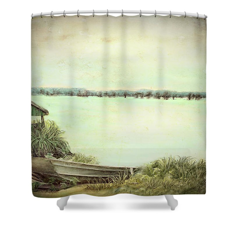 Reelfoot Lake Shower Curtain featuring the painting Reelfoot Lake Fishing by Bonnie Willis