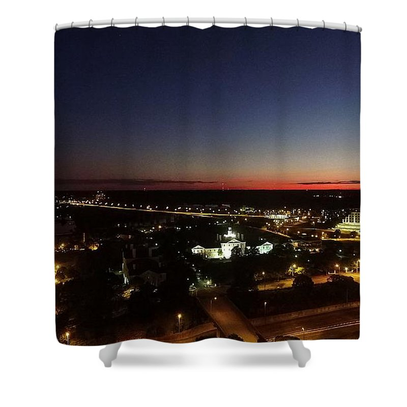 Richmond Shower Curtain featuring the photograph Richmond Sunset by Tredegar DroneWorks