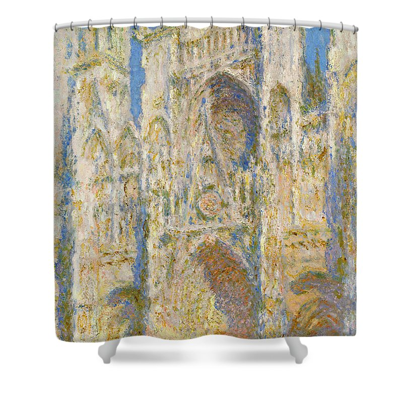 Architectural Shower Curtain featuring the painting Rouen Cathedral, West Facade, Sunlight by Claude Monet