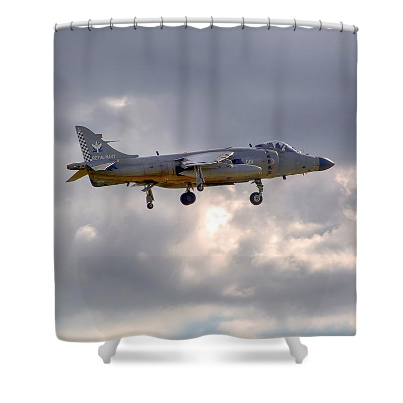 Royal Navy Shower Curtain featuring the photograph Royal Navy Sea Harrier by Chris Smith