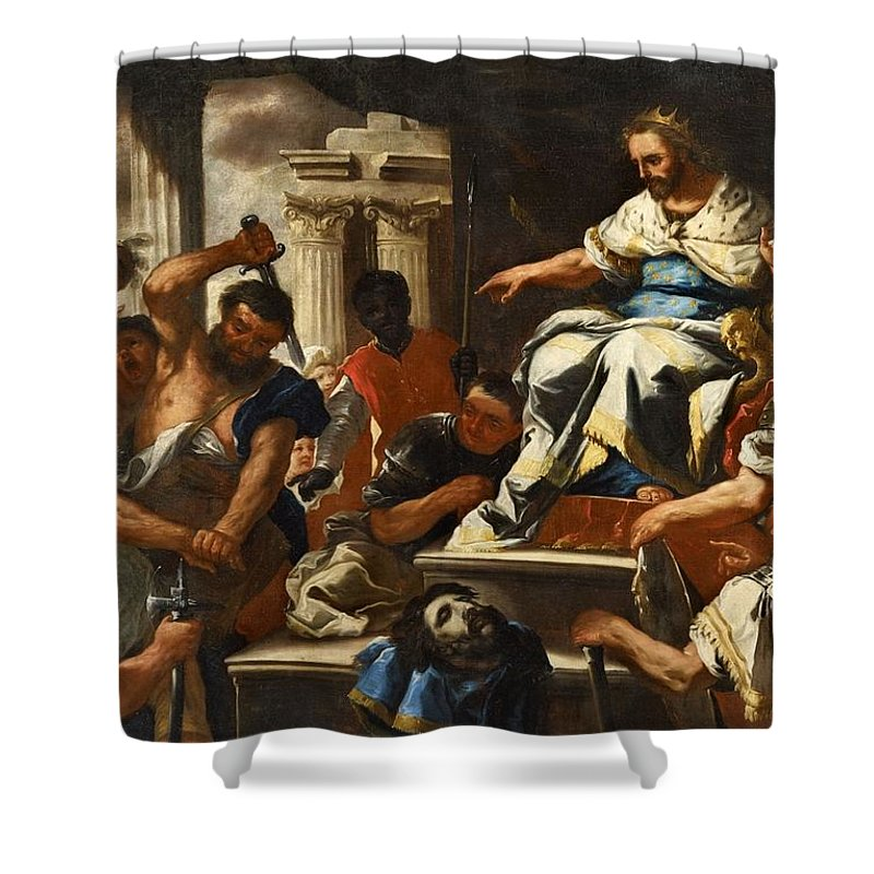 Luca Giordano Shower Curtain featuring the painting Saint John by MotionAge Designs