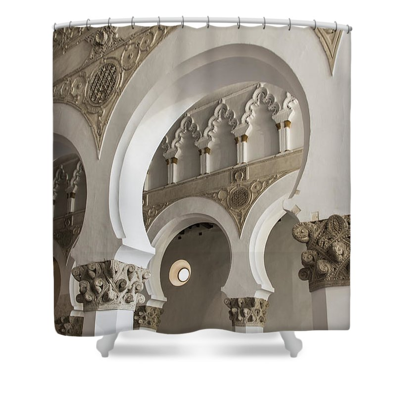 Synagogue Shower Curtain featuring the photograph Santa Maria La Blanca Synagogue - Toledo Spain by Jon Berghoff