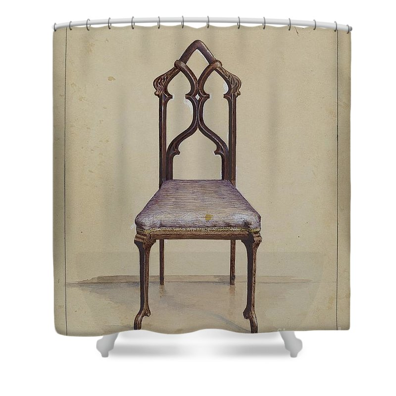 Shower Curtain featuring the drawing Side Chair by Joseph Rothenberg