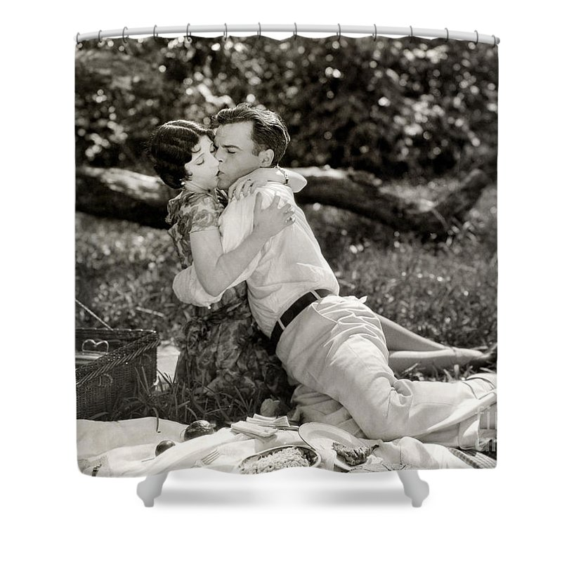 -picnic- Shower Curtain featuring the photograph Silent Film Still: Picnic by Granger