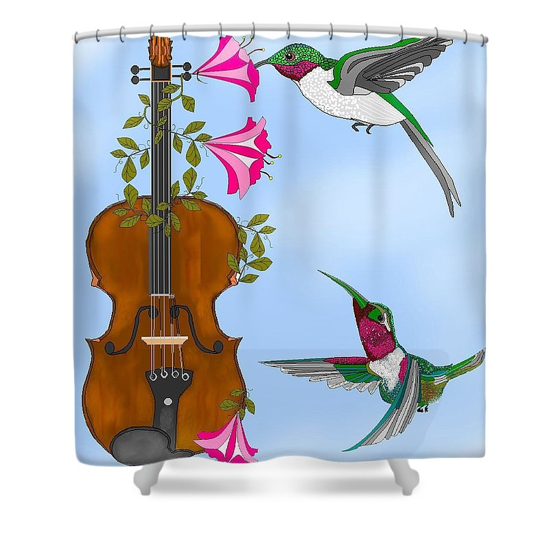 Fantasy Shower Curtain featuring the painting Singing The Song Of Life by Anne Norskog