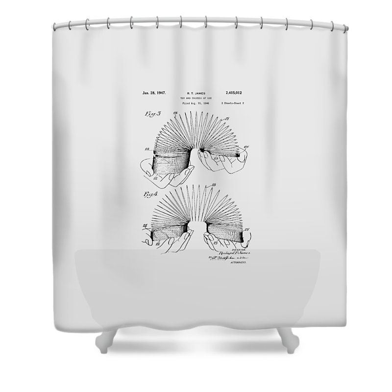Slinky Shower Curtain featuring the photograph Slinky Patent 1947 by Chris Smith