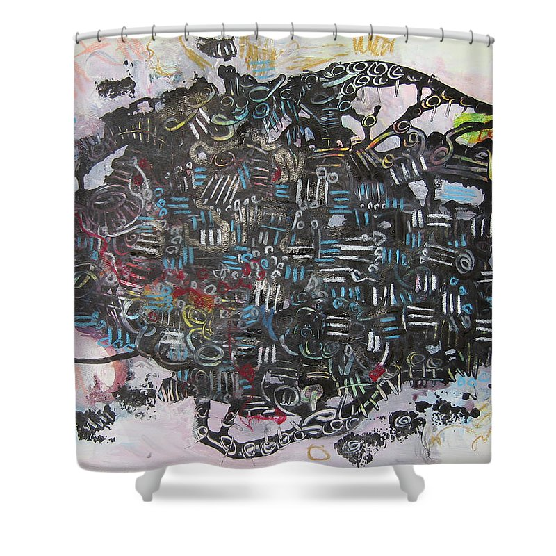 Abstract Shower Curtain featuring the painting Spring Fever6 by Seon-Jeong Kim