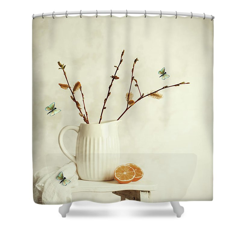 Pretty Shower Curtain featuring the photograph Springtime Still Life by Amanda Elwell