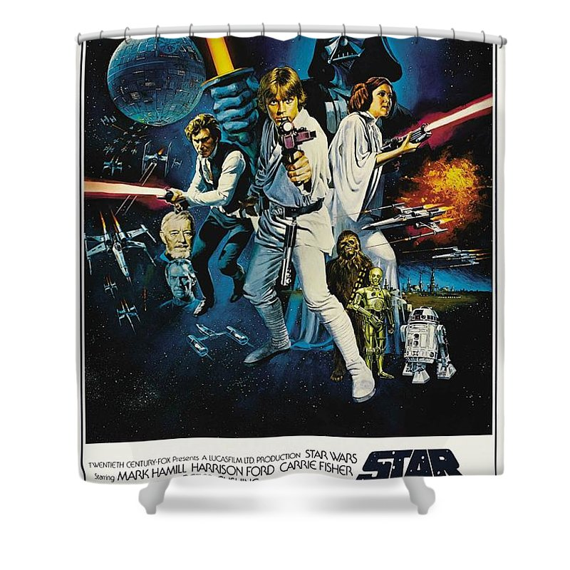 Star Wars Shower Curtain featuring the digital art Star Wars by Geek N Rock